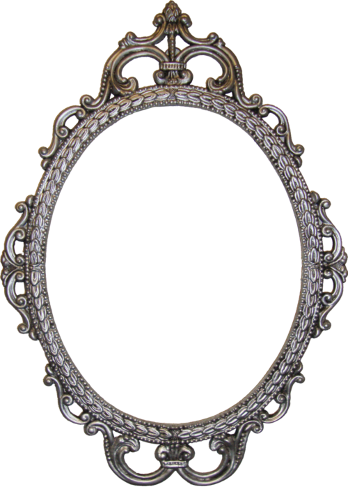 Oval silver mirror Photo - 1
